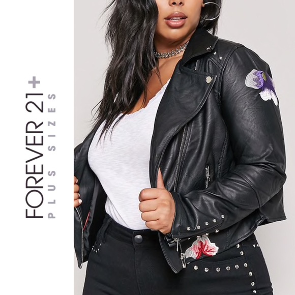 72d12f6b22 Forever 21 Jackets & Coats | Plus Size Studded Faux Leather Jacket ...